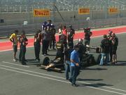 Mario Andretti suiting up to take the official first lap around the COTA racetrack.