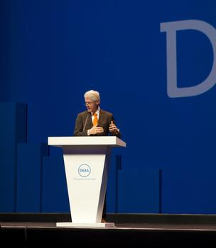 Former President Bill Clinton touched on a variety of topics at a Dell Inc. users conference in Austin Wednesday.