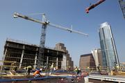 This is the 240-foot tower crane working on the 17-story Hyatt Place at San Jacinto Boulevard and East Third street.