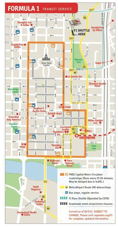 Transit service the Capital Metropolitan Transportation Authority will offer during the Formula One race weekend, Nov. 16-18.