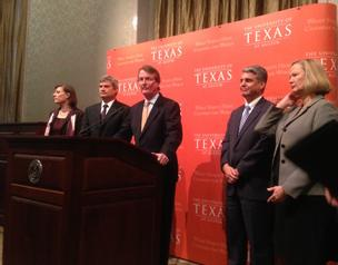 University of Texas at Austin President Bill Powers (middle) flanked by, from left to right, UT School of Natural Sciences Dean Linda Hicke, UT Executive Vice President and Provost Steve Leslie, UT Cockrell School Dean Greg Fenves and UT School of Nursing Dean Alexa Stuifbergen.