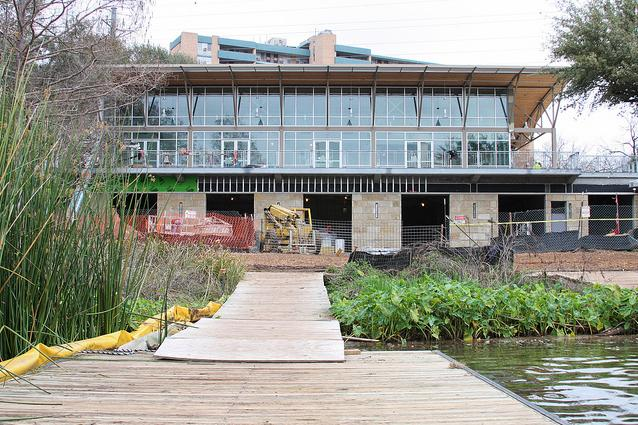 Construction is winding down on the $3 million Waller Boathouse, located along Lady Bird Lake in downtown Austin. It will open to the public on May 3 with a ribbon-cutting ceremony to mark the occasion.