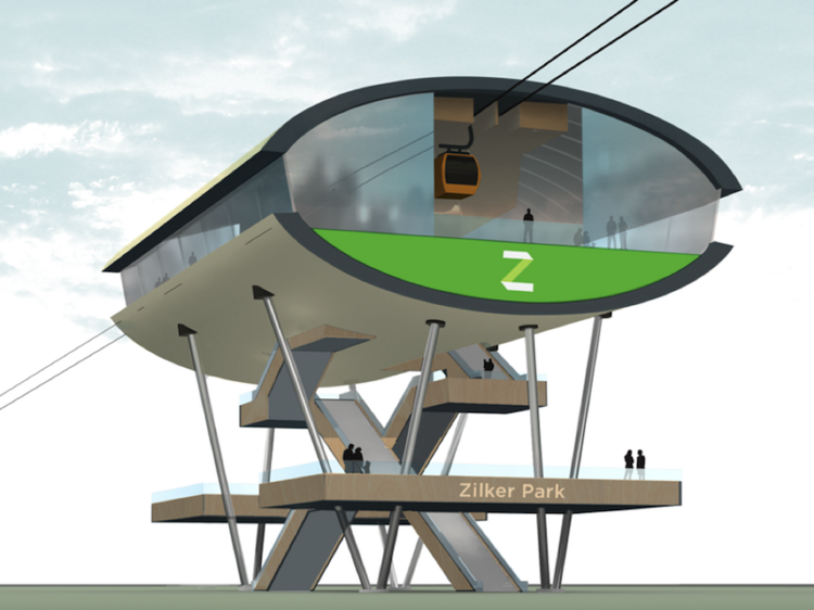 An overhead wire system could move 10,000 people an hour, Frog Design's Michael McDaniel said.