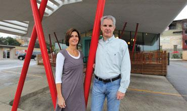 Patrick and Kathy Terry, owners of P. Terry's Burger Stand, outside their location on North Lamar Boulevard.