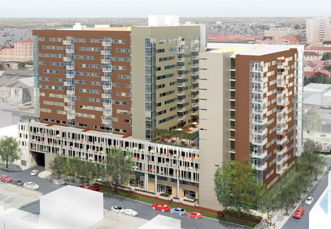 This 16-story student housing complex with retail at the bottom is being built near 24th and Nueces streets near the University of Texas campus.