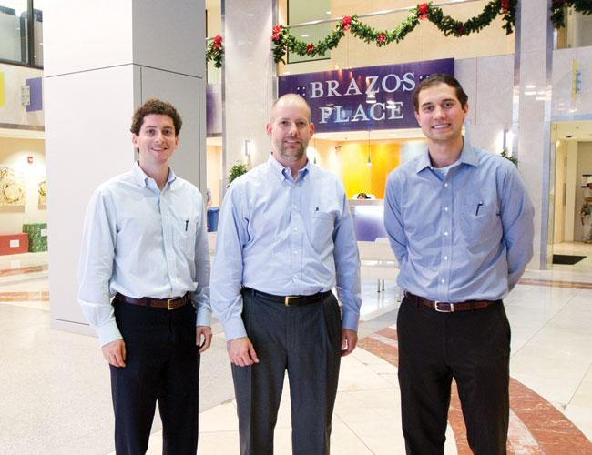 From left: Jason Steinberg, Ken Crouse and Matt Levin are finding success as 800 Brazos is marketed to creative companies.