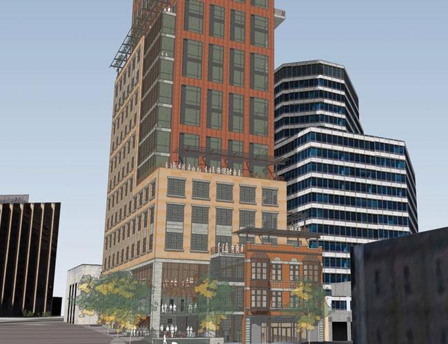 This rendering of a proposed hotel at 801 Congress Avenue shows its position next to the old Frost Bank tower.