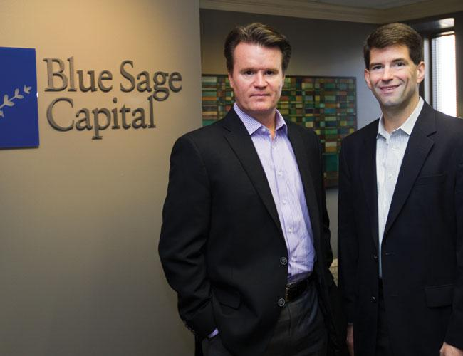 Investors apparently like the track record of Jim McBride, left, and Peter Huff at Blue Sage Capital. They aimed for $100 million but brought in $150 million recently.