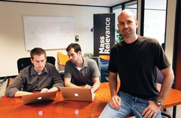 Sam Decker, front, is relying on cloud computing to power his startup, Mass Relevance Inc.