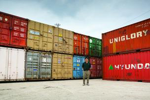 Falcon Containers CEO Stephen Shang thinks refurbished shipping containers are perfect for 'upscale, urban hipsters' in need of space. His company's new headquarters (right) will double as a showroom when it's finished.