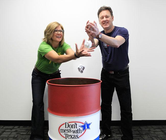 """Valerie Davis and Kevin Tuerff, co-founders of EnviroMedia, are happy to have been awarded the """"Don't Mess With Texas"""" campaign again."""