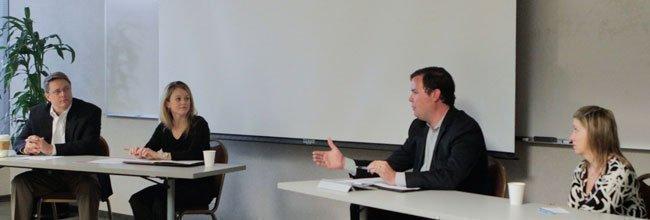 Tim Mooney addresses fellow panelists, from left, Alan Peters, Rachel Coulter and Liz Elam.