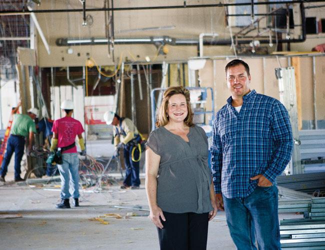 George P. Johnson Vice President Jennifer Shifman and Eric Herron of Sixthriver Architects are overseeing the build-out of the agency's office.