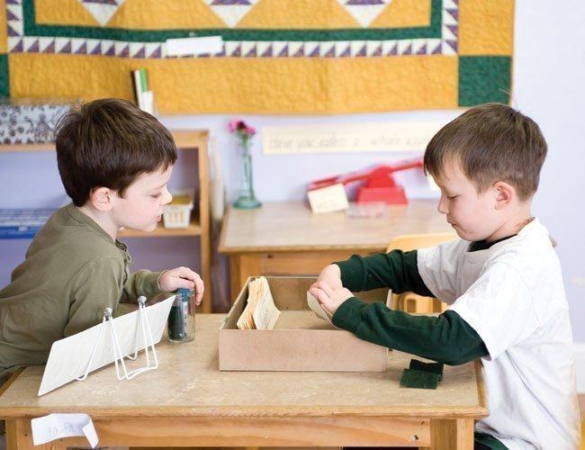 Kindergarten students work together in the Khabele School's elementary Montessori program.