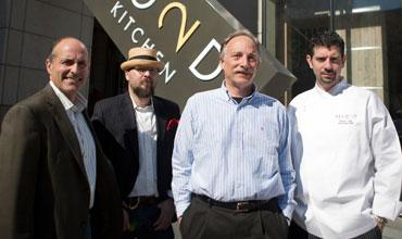 From left, Jeff Trigger, Scott Walker, Jeff Rhein and David Bull at Second Bar + Kitchen outside The Austonian.