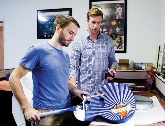 Dave Barry, left, and Kevin Tully left the Northeast to found Moniker Guitars in Austin.