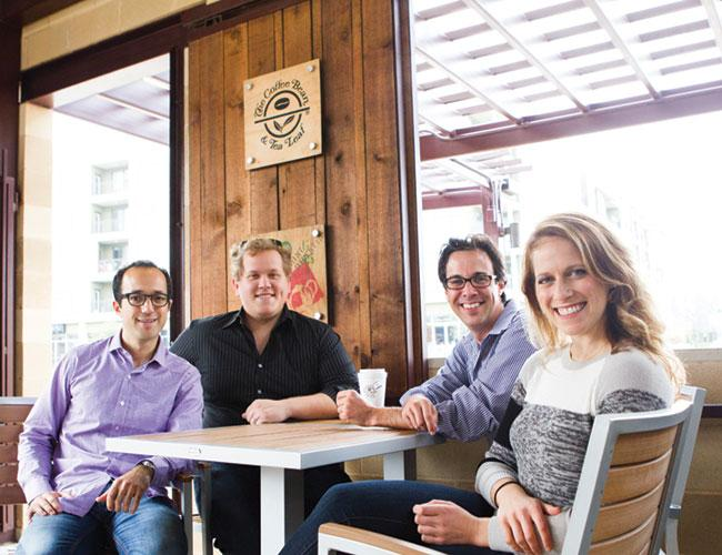 From left, Next One's On Me Inc.'s Jeffrey Schwartz, Ben Calder, Paul O'Brien and CEO Sara Rodell at The Coffee Bean and Tea Leaf on South Lamar Boulevard.