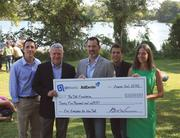 "Q1 Media and AdExcite presented The Trail Foundation with a $25,000 donation to the ""Campaign for the Trail."" From left: Matt Bentley of AdExcite, Austin Mayor Lee Leffingwell, Q1 Media's Bill Wiemann and Gaines Jonakin, and Susan Rankin of The Trail Foundation."