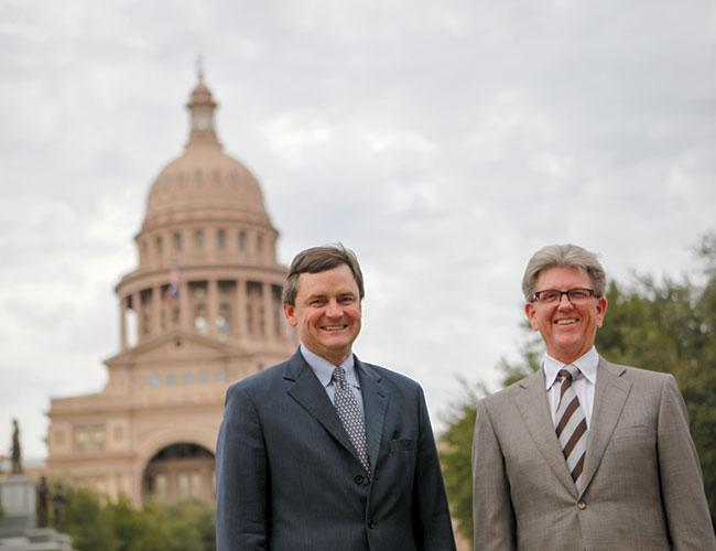 Steve LeBlanc (left) and Tom Stacy are gearing up for an office buying spree. Buildings in major Texas markets are being eyed.