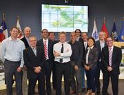Representatives from Michael Van Valkenburgh Associates Inc., Thomas Phifer & Partners, Big Red Dog Engineering and DWG Landscape Architecture bask in the limelight after winning the task of redesigning the area around Waller Creek.