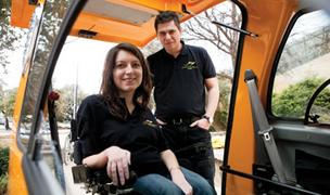 Austinite Stacy Zoern (left) and Istvan Kissaroslaki of Hungary plan to open a plant in Pflugerville that will make electric cars for people in wheelchairs.