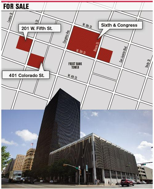 The black Bank of America Tower and property next to it is for sale. It's a high-profile block begging to be rebuilt, some say.