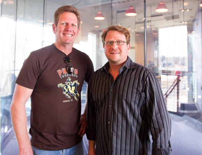 Amy's Ice Creams co-owner Steve Simmons (left) and Stuart Wallock, chief marketing officer for iFLY.