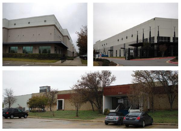 Recent activity in Southeast Austin has led to modest gains in industrial space absorption: Pictured are Southpark Commerce Center, top left; Met Center 2, Building 5, top right, which houses the Department of Veterans Affairs; and HDi Plastics Inc. at 5330 Fleming Court.