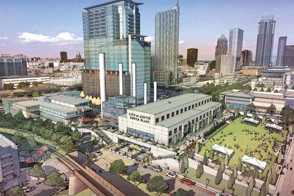 This rendering shows what the site of the old Seaholm Power Plant may look like once it's built out. Exactly how much office, retail or residential to build is undecided.