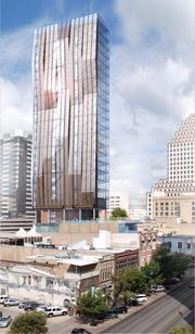 This project, one of dozens chronicled in the city's latest list of downtown construction projects, could have a 90,000-square-foot hotel rise above Austin's historic James H. Robertson building. The new construction would preserve the historic facade and include 130 rooms as well as a dining area. The project was designed by Dick Clark architecture, and a groundbreaking date has not been determined.