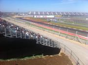 The stands along turn 12 were full by midday Friday, the first of three days of F1 performances. Racers spent the day getting a feel for the track before Sunday's race.