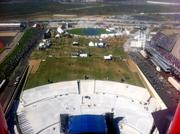 The grand plaza at Circuit of The Americas, seen here from the  observation tower, will be a hotspot for music concerts when F1 cars  aren't racing. Officials said the tower is rigged to produce a spectacular light show that can be customized by the performers.