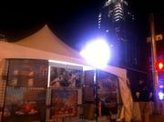 At nightfall, Fan Fest began downtown. Bands played free shows, restaurants and retailers stayed open late and party-goers browsed through local vendor tents and million-dollar street set-ups showcasing major brands such as Mobil 1.