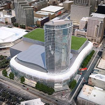 A rendering of the proposed new arena, hotel and convention center.