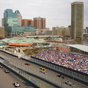 A rendering of the view of the Baltimore Grand Prix race course from the InterContinental Harbor Court Hotel along Light Street downtown.