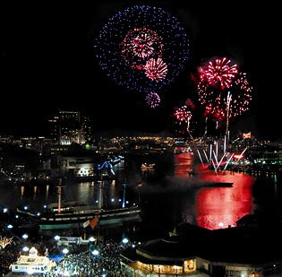 The Inner Harbor fireworks show on New Year's Eve draws between 75,000 to 150,000 people annually.
