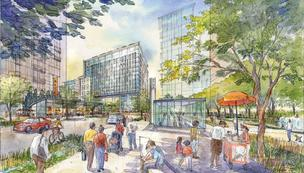 This is a rendering of the proposed redevelopment of State Center in Baltimore.