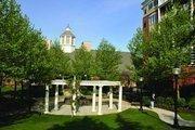 The courtyard outside Mercy Ridge Retirement Center.