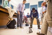 A robotics project is tested out at Gilman School.