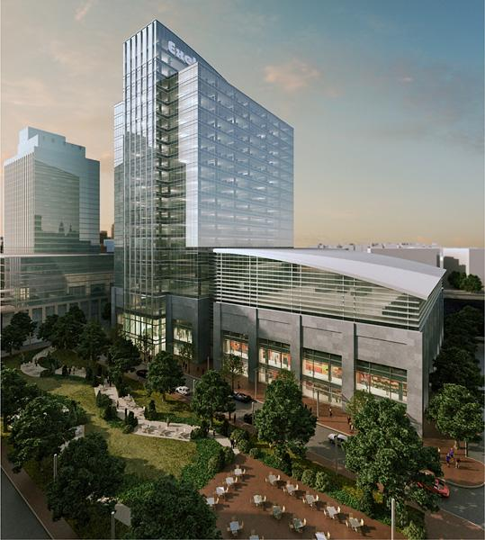 A rendering depicts the planned Baltimore headquarters for Exelon Corp. at Harbor Point.
