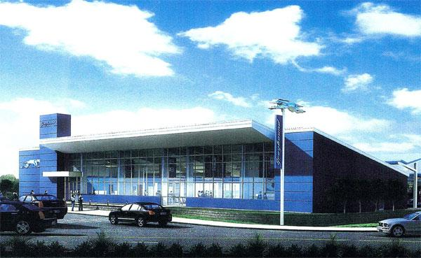 An artist's rendering of a new Greyhound bus station in South Baltimore.