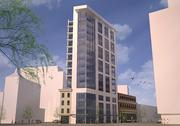 Anthony Waddell and Christopher Harrison want to redevelop five properties that stretch around Liberty and Fayette streets, as well as Park Avenue, into 92 apartments. Above, an artist's rendering of the planned $20 million Liberty Park project near First Mariner Arena.