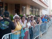 The line of patrons waiting outside Maryland Live! at 6 p.m. for the casino's 10 p.m. opening.