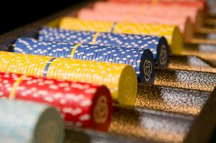A table of chips on display Wednesday at Maryland Live. The casino will add blackjack and poker.