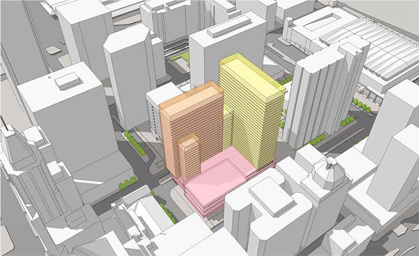David S. Brown and Arrow Parking plan to build two 30-story towers that will include 600 market-rate apartments and 150,000 square feet of retail space.