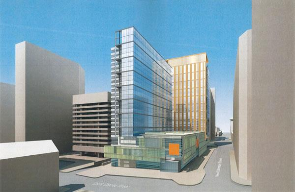 A rendering of the proposed Mechanic Theatre redevelopment. This view is from South Charles and West Baltimore streets.