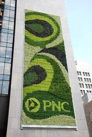 An image of the living wall outside PNC's headquarters in Pittsburgh.
