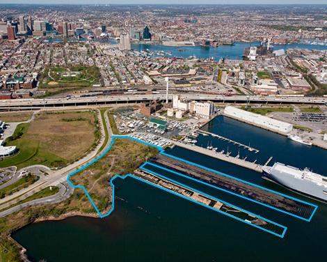 The Port Covington parcel outlined in blue sold at auction Thursday for $2 million.
