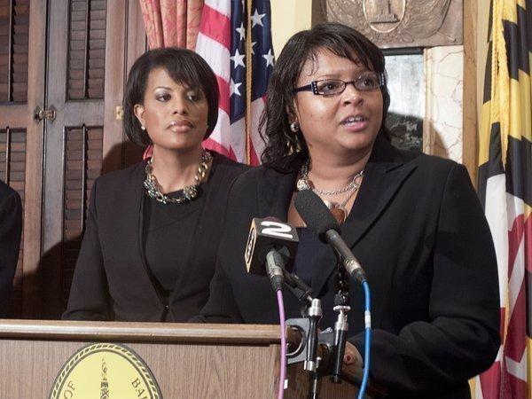 Mayor Stephanie Rawlings-Blake, left, introduced Brenda McKenzie as the new head of the Baltimore Development Corp. on Nov. 19.