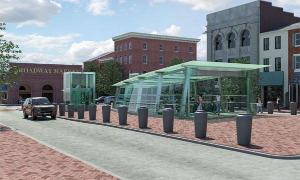An artist's rendering of a proposed Red Line stop near Broadway Market in Fells Point.